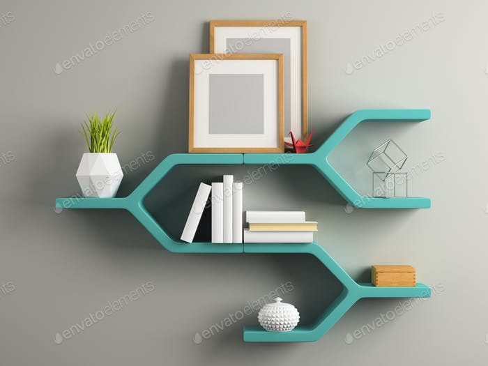 Part of interior with the shelf 3D illustration