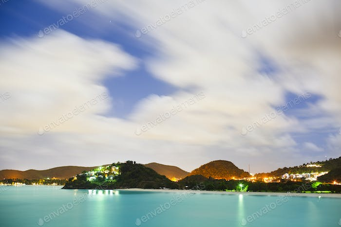 Caribbean Coastline At Night, Antigua