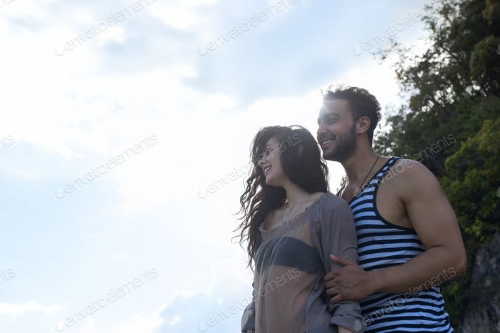 Couple Happy Smiling Blue Sky Sunshine, Beautiful Young People In Love, Man And Woman Embracing