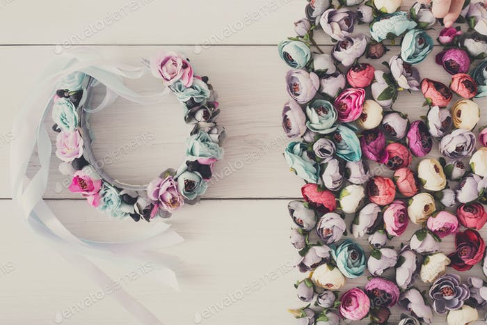 Beautiful headbands with flowers flat lay