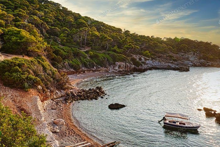 Beautiful landscape of wild Sterna beach, Mediterrenian sea, Greece