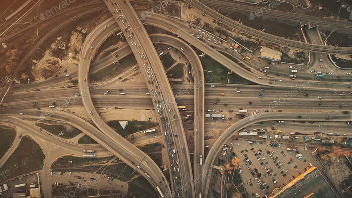 Epic city highway car traffic system aerial view