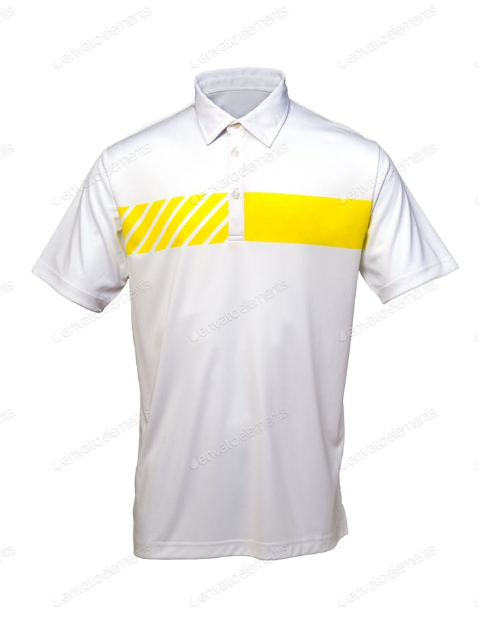 Golf white and yellow tee shirt for man or woman