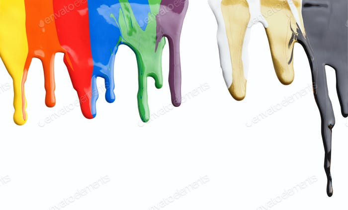 Colored paint dripping