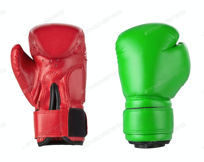Red and Green boxing gloves