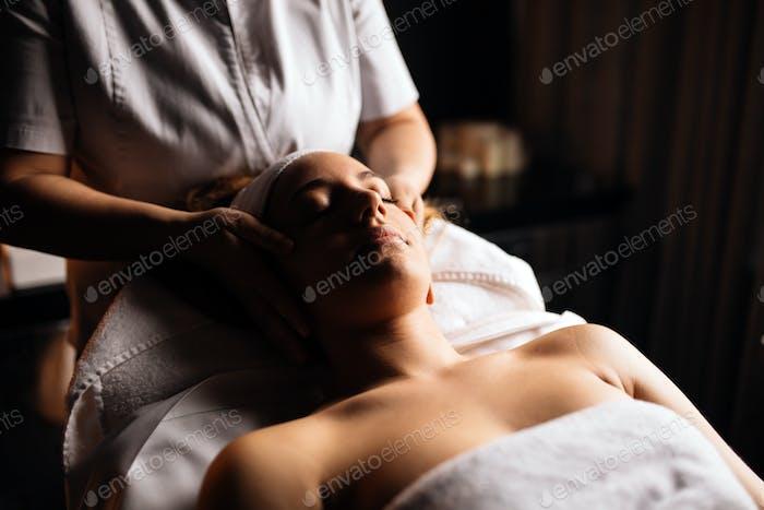 Massaging of a beatufil woman