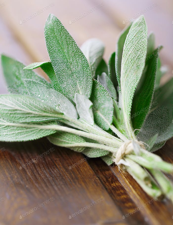 Sage on a wooden table