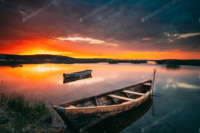 Braslaw Or Braslau, Vitebsk Voblast, Belarus. Wooden Rowing Fishing Boats In Beautiful Summer Sunset
