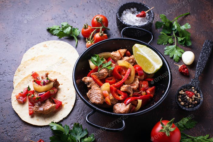 Fajitas with peppers for cooking Mexican tacos
