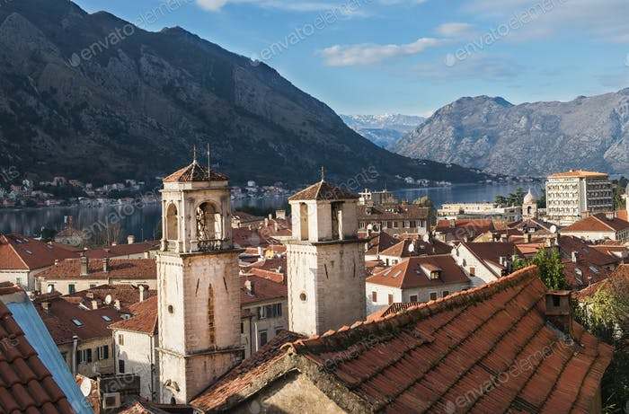 The view over the bay of Kotor, Montenegro, the two towers and t