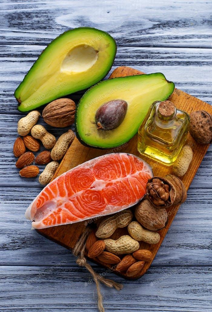 Healthy fat salmon, avocado, oil, nuts