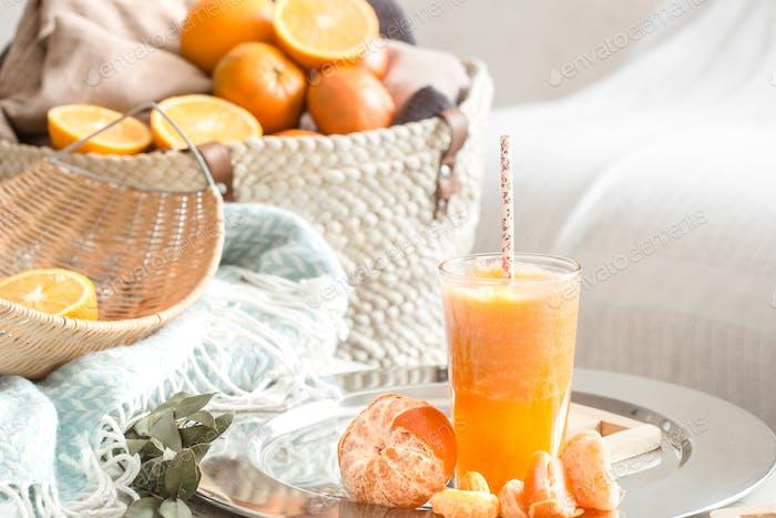 Freshly-grown organic fresh orange juice.