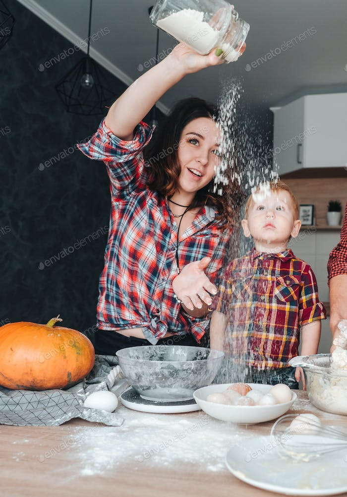 Mom and little son in the kitchen