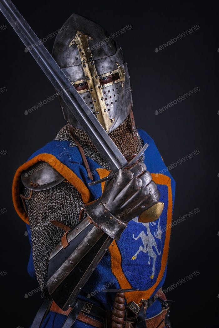 A knight with a sword.