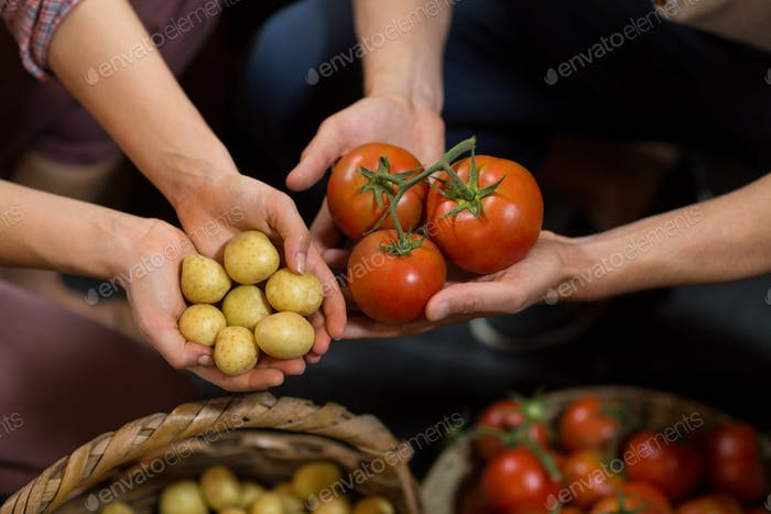 Woman and man vendors holding tomatoes and potatoes at grocery store