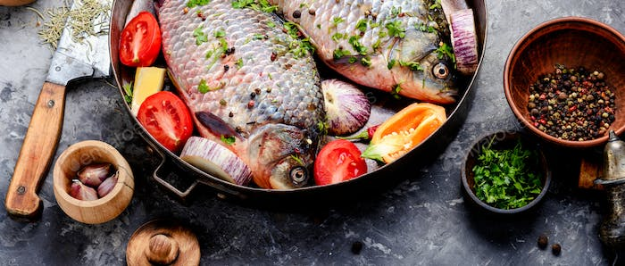 Raw fish and food ingredients