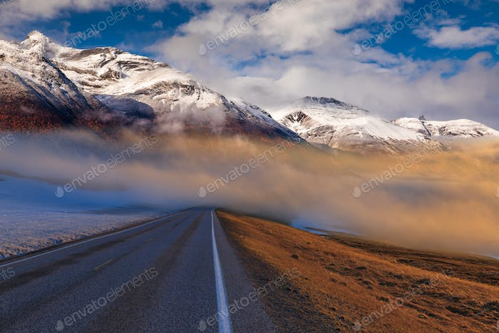 Road in the fog in the mountains, Norway. Beautiful mountain landscape