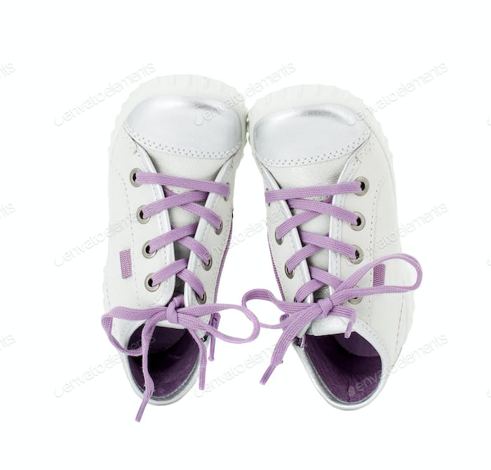 Thumbnail for White leather sneakers with purple shoelace.