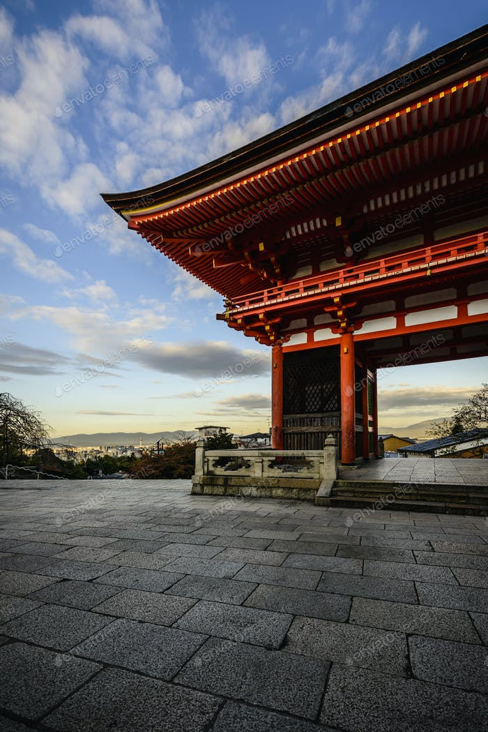 Entrance to Kiyomizu Dera under blue sky, Kyoto, Japan