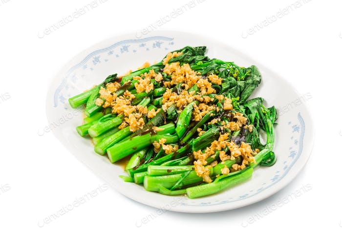 Blanched Chinese Choy Sum vegetable with garlic oil dish