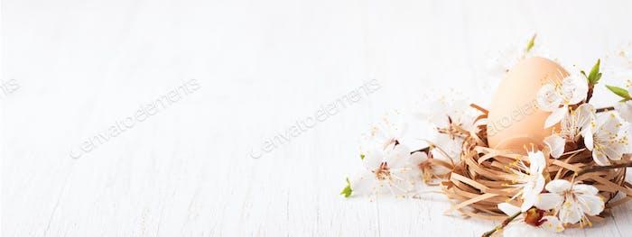 Banner mit Osterei im Nest dekoriert blühende Blume auf Holztisch.