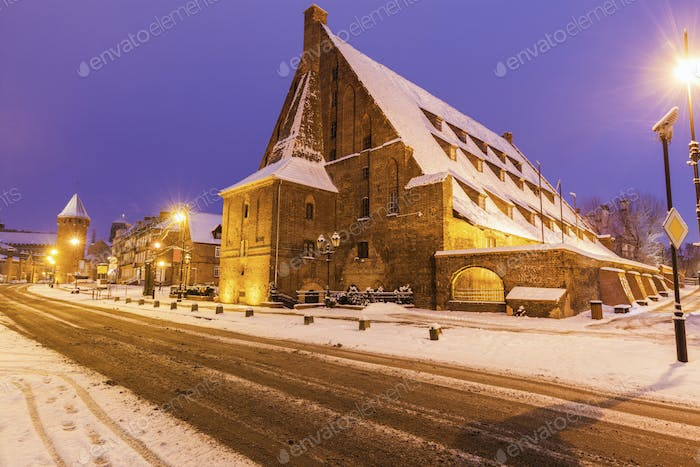Great Mill in Gdansk at night