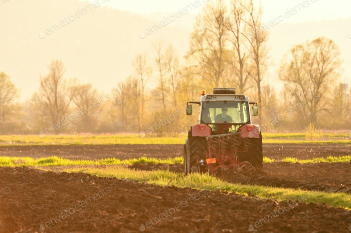 Farmer plowing soil at sunset in spring season