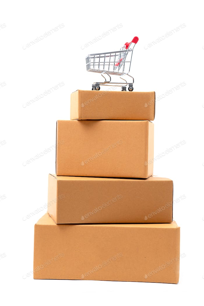 shopping cart on brown parcels box