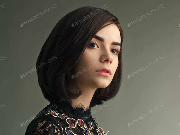 vintage fashion female model on studio background