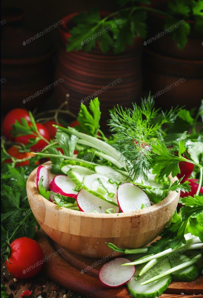 Spring salad with fresh cucumber, radishes, herbs, garlic in bowl
