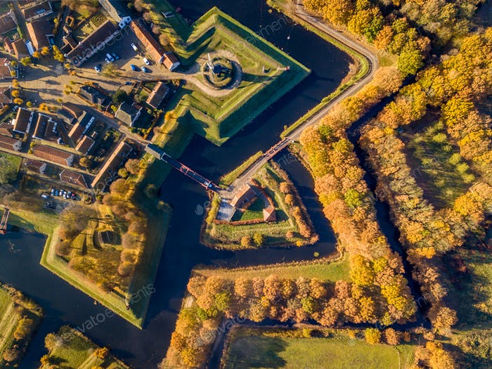 Aerial view of Fortification village of Bourtange