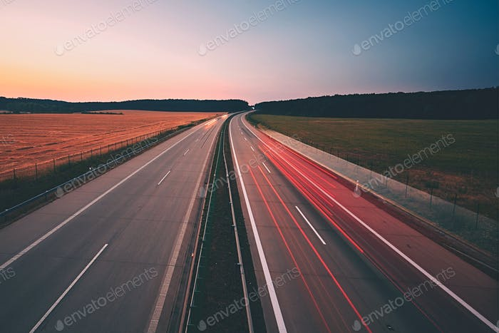 Highway at the sunrise