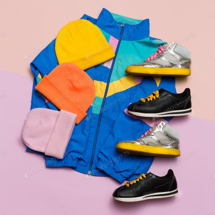 Vintage sportswear. Hipster style. Fashion blogger help Top view