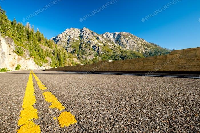 Highway at Lake Tahoe in California