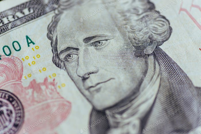Alexander Hamilton face on US ten or 10 dollars bill macro, unit