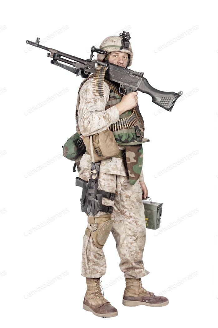 Soldier with machine gun isolated studio shoot