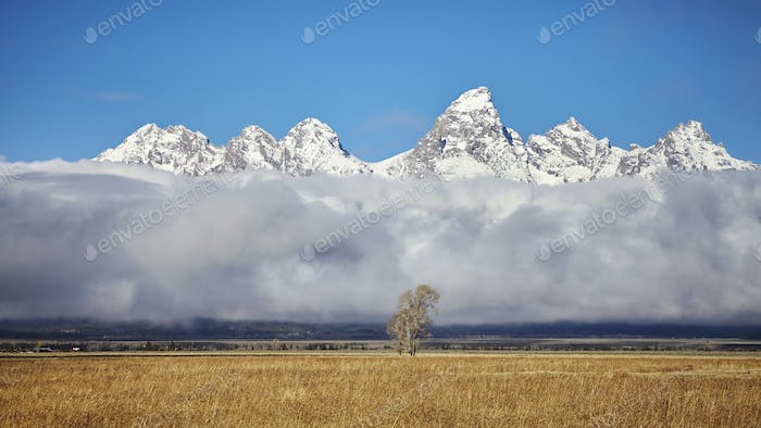 Teton mountains range in the Grand Teton National Park, Wyoming,