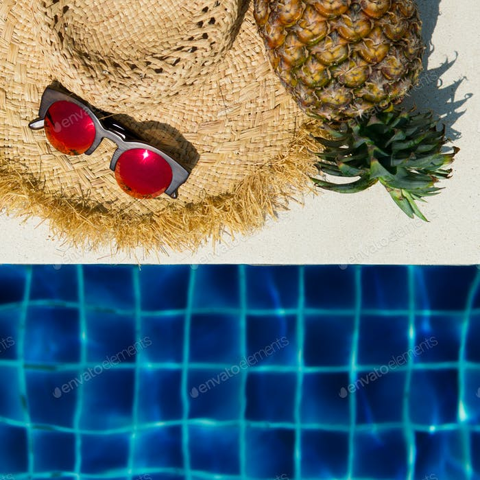 Women's Straw Hat, Sunglasses, Pineapple And Pool. Summer Time.
