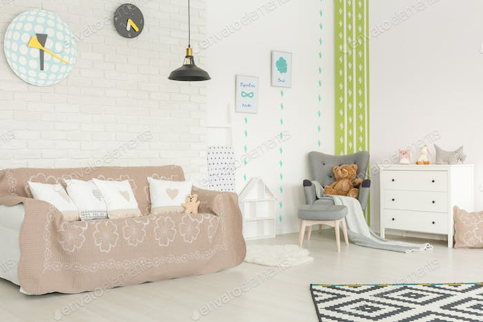Baby room with cactus wallpaper