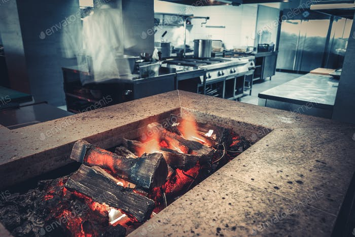 fireplace close-up in restaurant kitchen