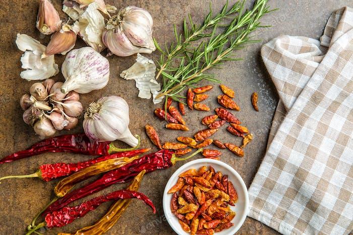 garlic, chili peppers and rosemary