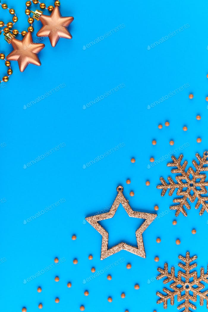 Blue background with copyspace for your text, greeting or xmas announcement
