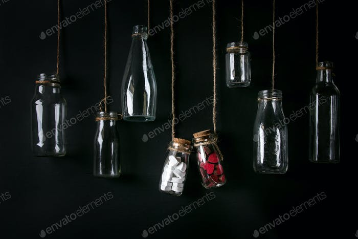 Set of empty bottles