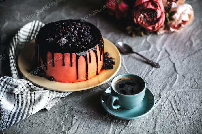 Cake. Healthy food. Grey stone background. Top view. Copy space