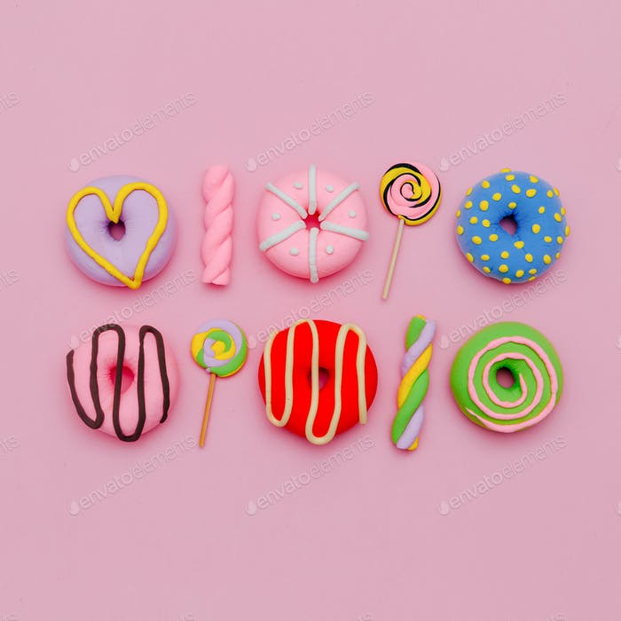 Fashion Sweet and Donuts. Pink Candy Minimal Flatlay art.