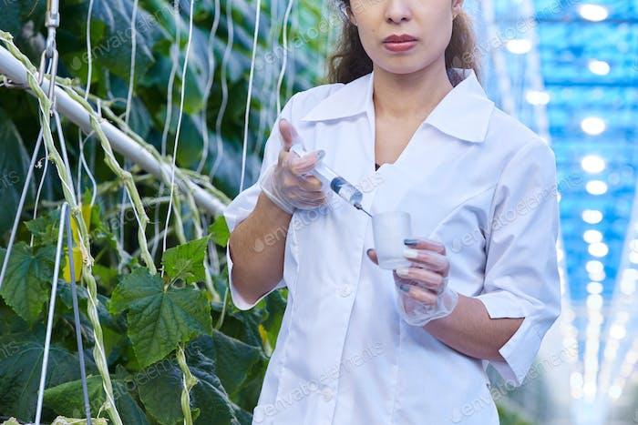 Scientist Taking Probes in Plantation