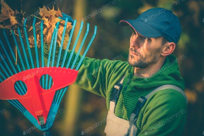 Leaves Raking Gardener
