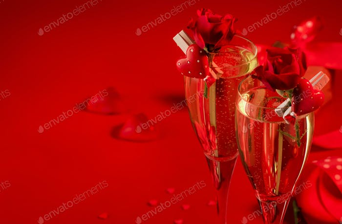 red background with champagne glasses, hearts and scarlet rose