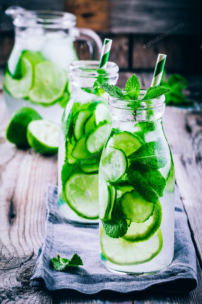 Detox water with cucumber, lime and mint