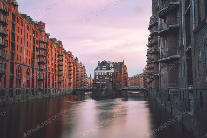 Hamburg, Warehouse District Speicherstadt, Germany, Europe. Scenic view of Wandrahmsfleet on evening
